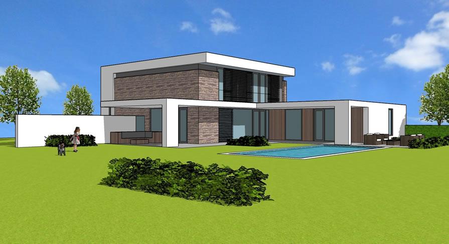Villa deluxe moderne villa in ibiza stijl for Moderne semi bungalow bouwen